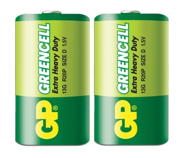 GP Greencell D Battery Carbon Zinc 2-Pack